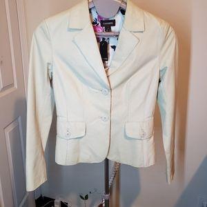 Danier leather white blazer jacket floral lined